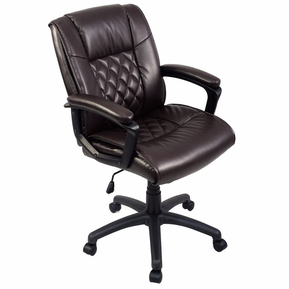 Goplus Ergonomic PU Leather Mid-Back Executive Gaming Chair Computer Desk Task Office Chair Brown Swivel Home Furniture HW51444 new pu leather high back desk office chair executive ergonomic computer task hw50277