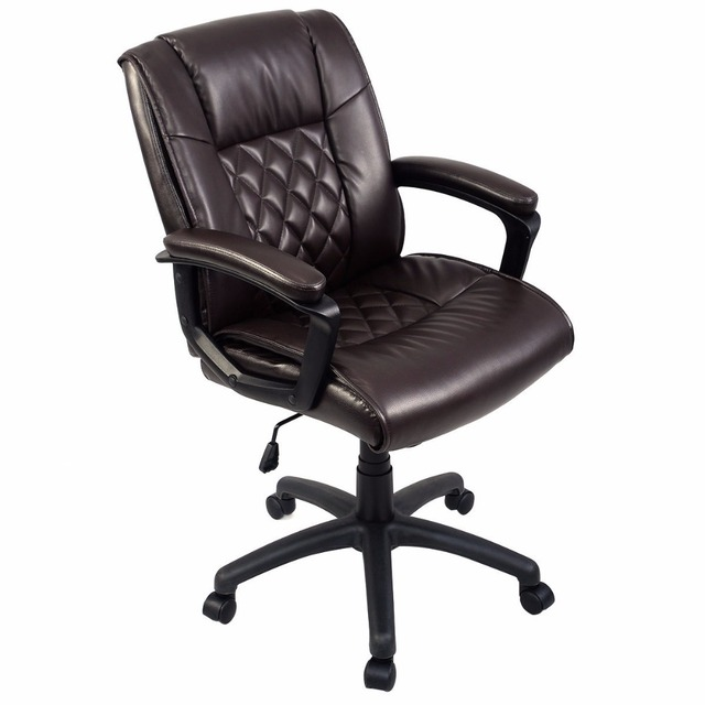 Goplus Ergonomic PU Leather Mid Back Executive Gaming Chair Computer Desk  Task Office Chair Brown