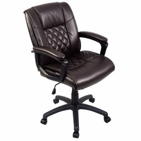 Goplus Ergonomic PU Leather Mid Back Executive Gaming Chair Computer Desk Task Office Chair Brown Swivel