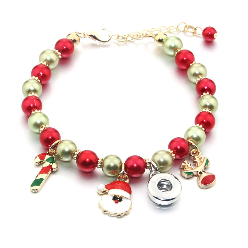 Christmas Snap Button Jewelry Adjustable Snap Button Bracelet 18mm 12mm Metal Snap Button Beads Charms Bracelets For Women 6475 image
