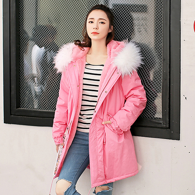Cheap Long Coat Jacket Women Army green Large color Raccoon Fur Hooded coat parkas outwear detachable lining Winter jacket #E192