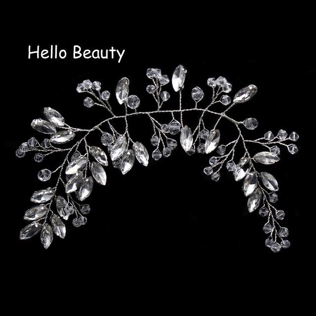 Crystal Beads Pageant Headpieces Floral Bridal Hair Jewelry Rhinestone Prom Headdress Bridesmaid Girls Wedding Hair Accessories