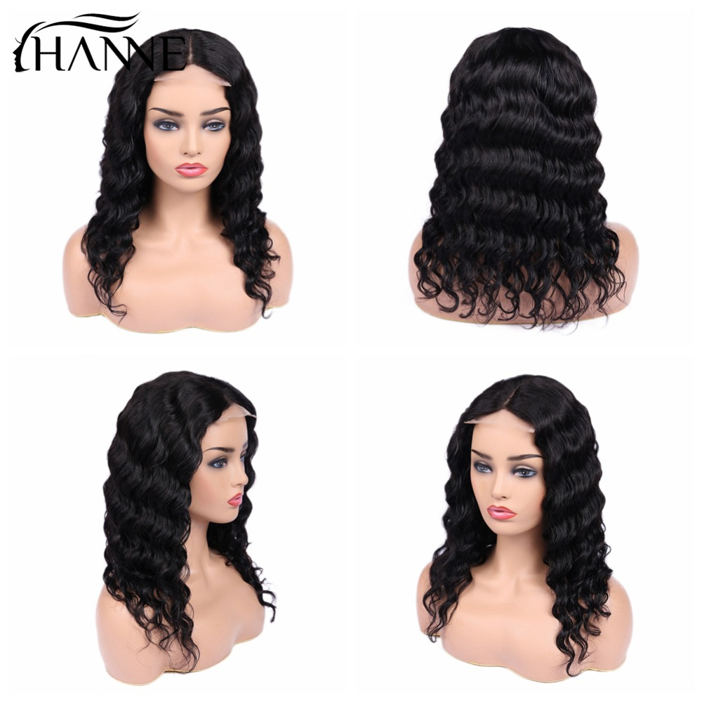 4 4 Lace Closure Human Hair Wigs Glueless 150 Density For Women Natural Color Brazilian Remy Loose Wave Wig HANNE Hair in Human Hair Lace Wigs from Hair Extensions Wigs