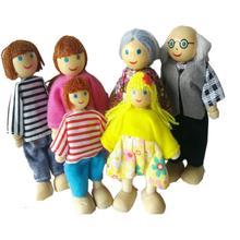 6 pcs anak seluruh keluarga kayu sendi bergerak boneka anak-anak bayi kayu  boneka interaktif model boneka untuk hadiah ulang tah. 2d39161f8f