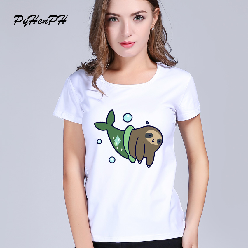 Pyhenph brand mermaid sloth panda pig t shirts women for Designer tee shirts womens