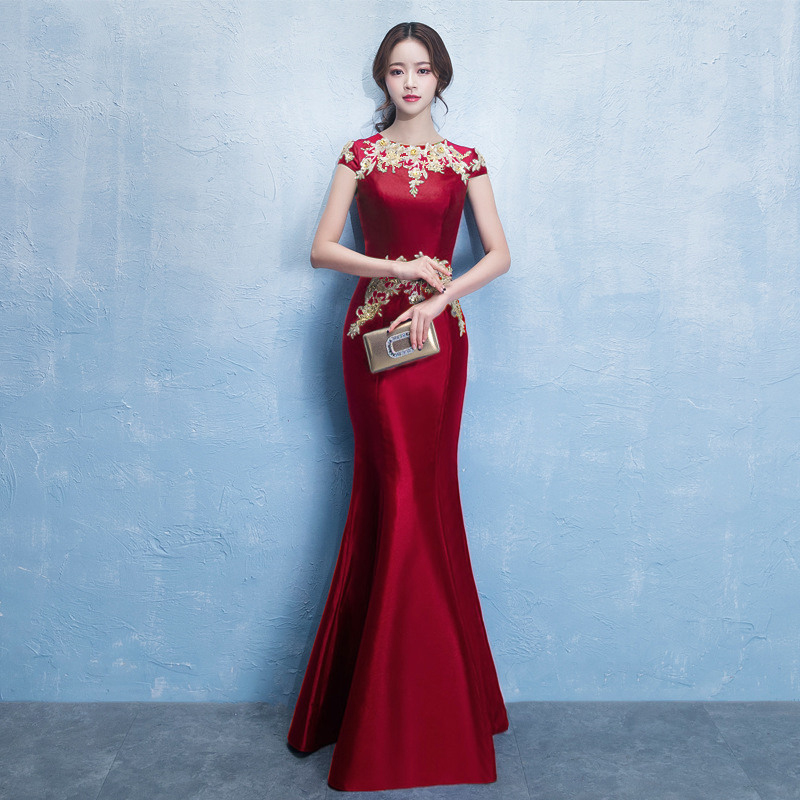 Robe de mariée bleue col rond Cheongsam Oriental femmes mariage à manches courtes fête Qipao élégant longue Robe vêtements Vestido XS-XXXL