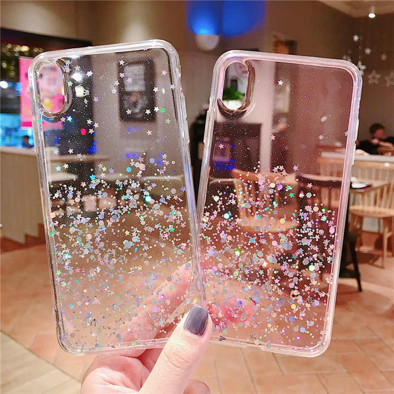 Luxury Glitter Bling Sequins Phone Case For iPhone 8 7 Plus 6 6s Epoxy Star Transparent Case For X XR XS MAX 10 Soft TPU Cover