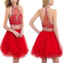 Schöne kurze zwei Stück Homecoming Kleider 2016 Perlen Halter Red Tüll Cocktail-Party Kleid für Mädchen