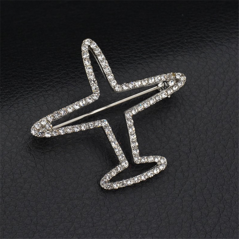 Rhinestone Airplane Brooch Pins Jewelry Alloy Plane Badges Luxury Brand Aircraft Brooches For Women Men Accessories image