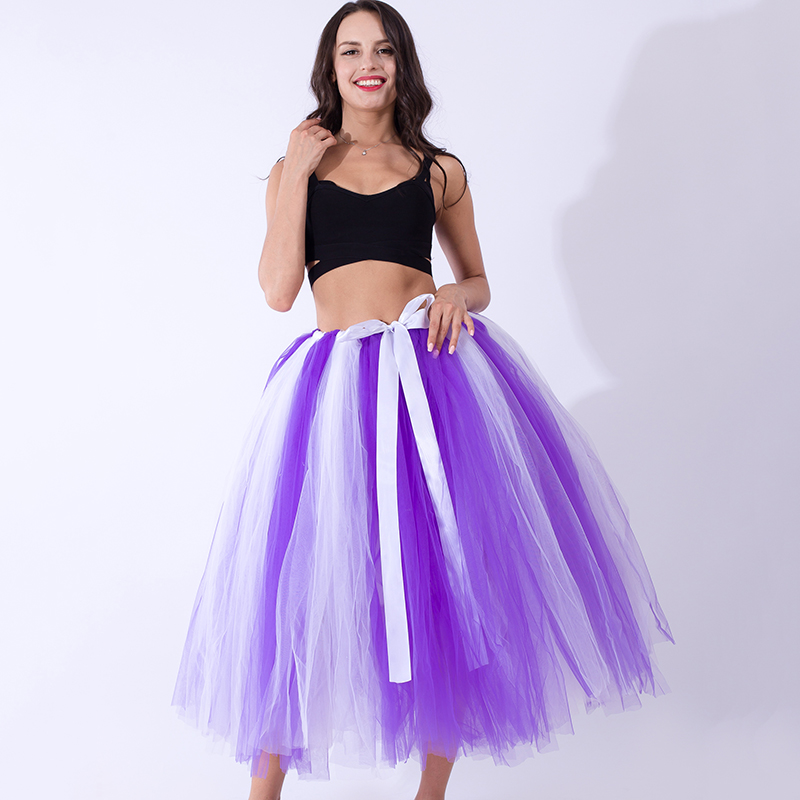 2017Fashion Women Puffy Tutu Skirts 80cm Long Tulle Skirts With Satin Sashes Bridesmaid Overskirt Lolita Christmas gift for girl