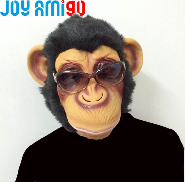 US $18 99 |Funny Creepy Chimp Monkey Gorilla Head Mask Halloween Party  Costume Bruno Mars Lazy Song Animal Toy Made Of Latex Rubber-in Gags &