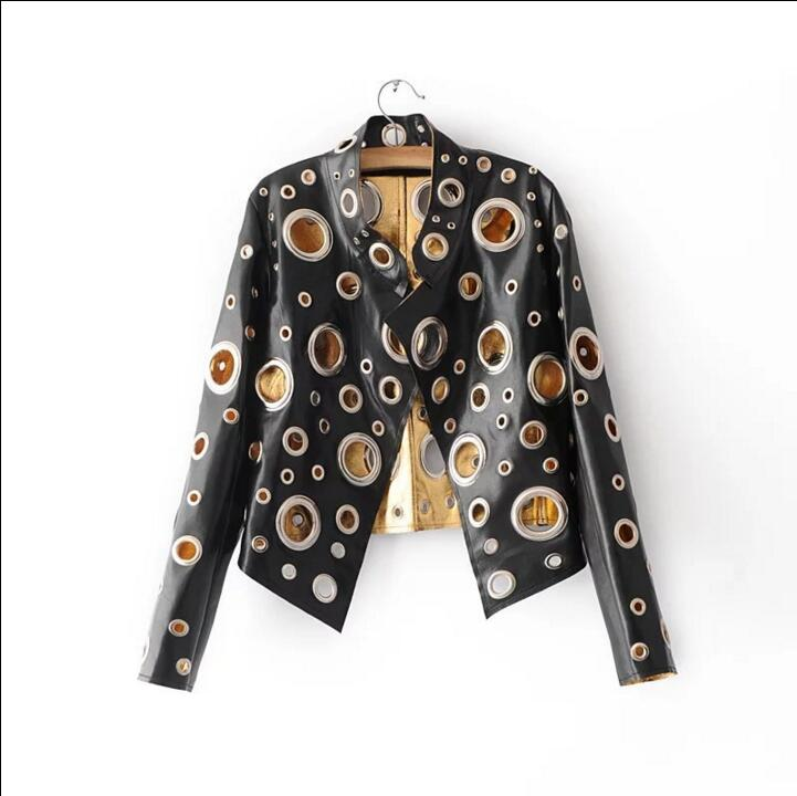 Spring Autumn Metal wind Hole gold Short Motorcycle jacket and ...