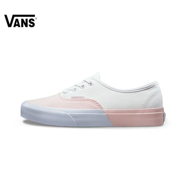 D'origine Vans Blanc et Rose Femme Planche À Roulettes Chaussures Chaussures  de Sport Toile