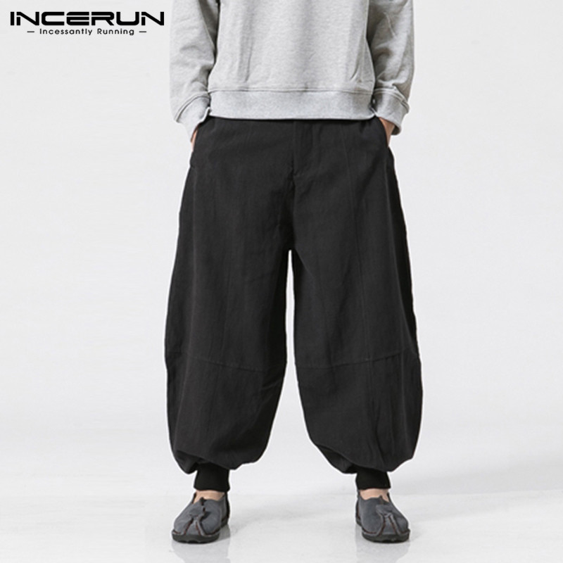 INCERUN Sweatpants Wide Pants Loose Trousers Men Baggy Harem Hiphop Pants Joggers Workouts Dance Fitness Autumn S-5XL Pantalon