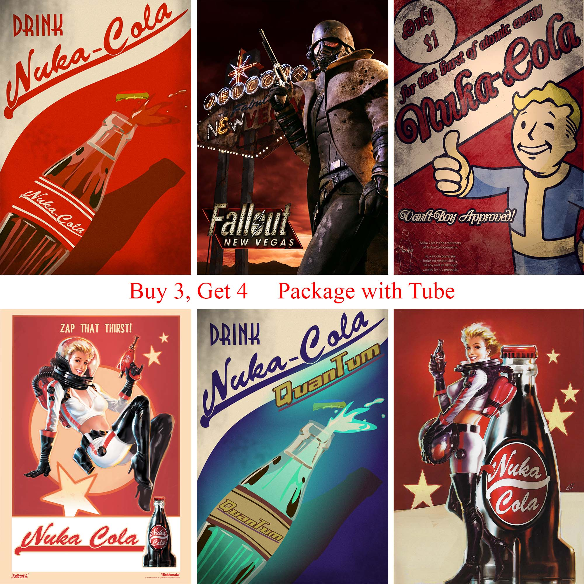 Fallout 4 Game Posters High Quality Wall Stickers White Coated Paper Prints Home Decoration Home Art Brand image