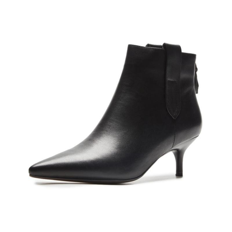 Chaussures Au Bottes Whie Bout Chaussons Sexy Noir Nouveau D hiver Femmes  Pointu Zapatos Talon Cuir Glissière Noir blanc Dames Pour Moyen Femme Dos  Cheville ... b91d799ce18f