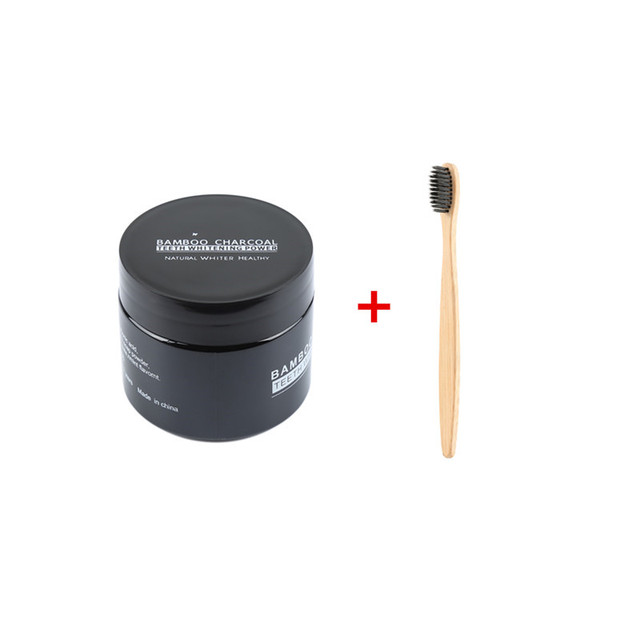 Activated Carbon Teeth Whitening Powder with Bamboo Toothbrush Professional Dental Whitening Kit Keep Fresh Oral Care TSLM1