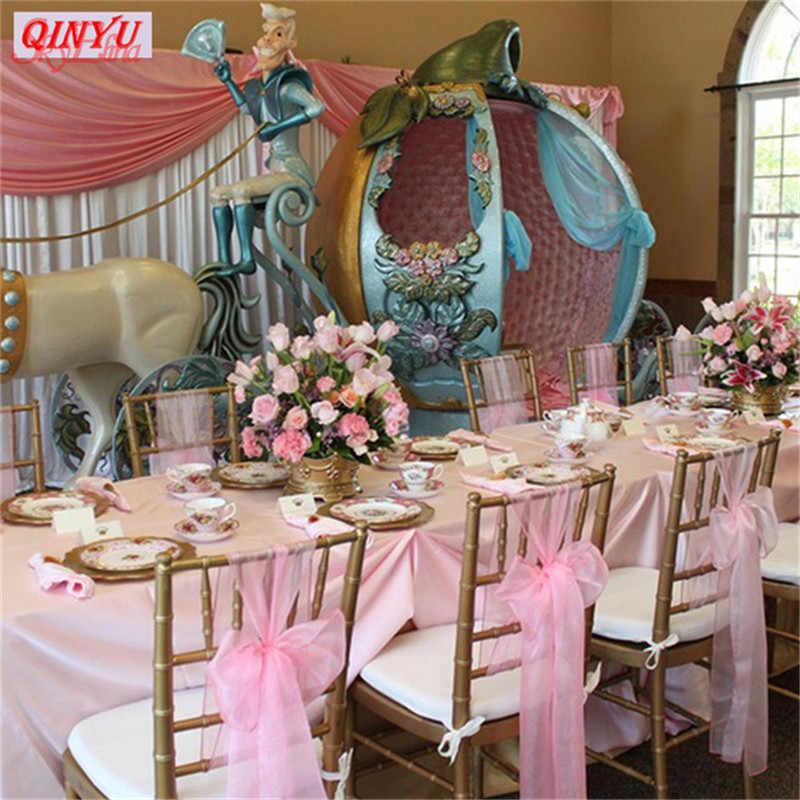 ורוד 5M חתונה קישוט שולחן רקמות טול רול קרפט צבעוני קריסטל אורגנזה Sheer גזה מסיבת יום הולדת קישוט 7Z SH015