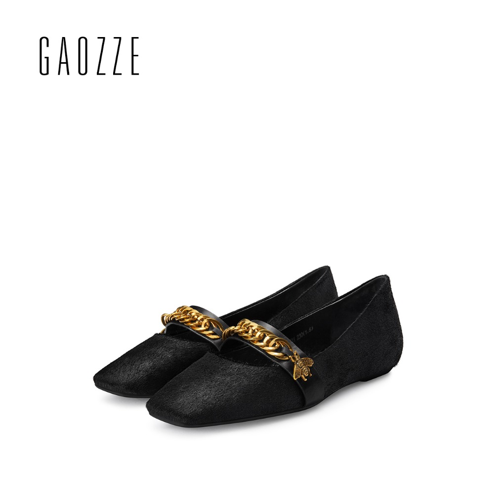 GAOZZE Horsehair Womens Ballet Flats Luxury Women Designers Metal Chain Flats Slip On Loafers Retro Square Head Casual Shoes New 2017 summer new fashion sexy lace ladies flats shoes womens pointed toe shallow flats shoes black slip on casual loafers t033109