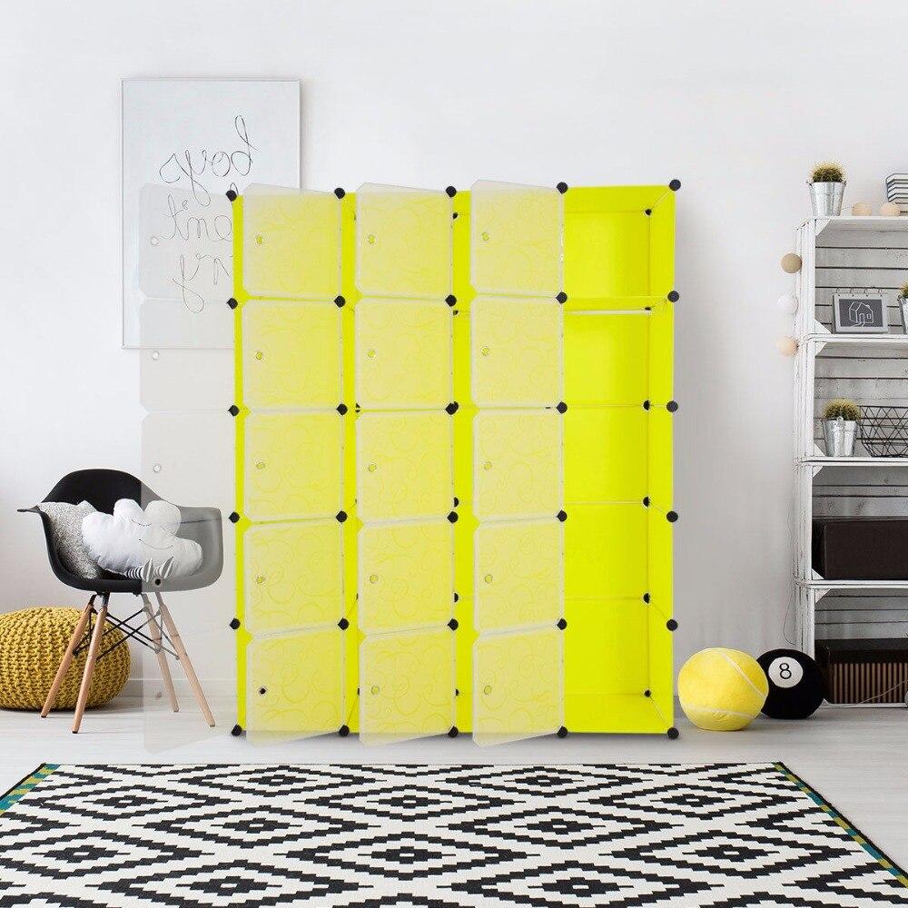 Giantex diy 20 cubo portátil armário armário armário de armazenamento organizador roupas com portas móveis para casa hw59322