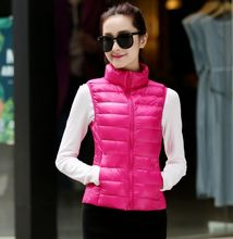 2016 new women Ultral light down vest winter 90% white duck feather short sleeveless down jackets waistcoat 10 colors QY15071708