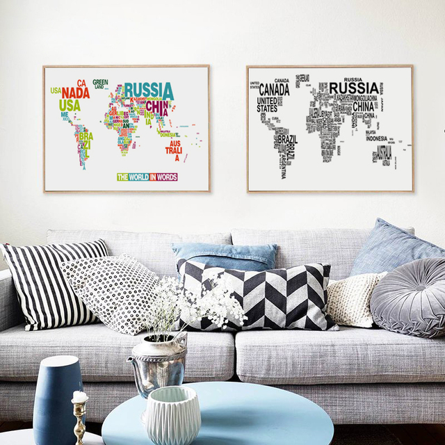 Bianche wall english alphabet world map modern decoration canvas bianche wall english alphabet world map modern decoration canvas painting art print poster picture paintings home gumiabroncs Image collections