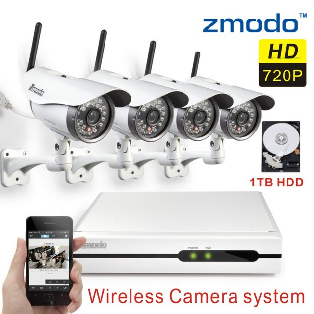 US $469 99 |Zmodo Wireless Security IP Camera System 4CH 720p Network Video  Recorder cctv nvr kit wifi camera with 1tb hard disk-in Surveillance