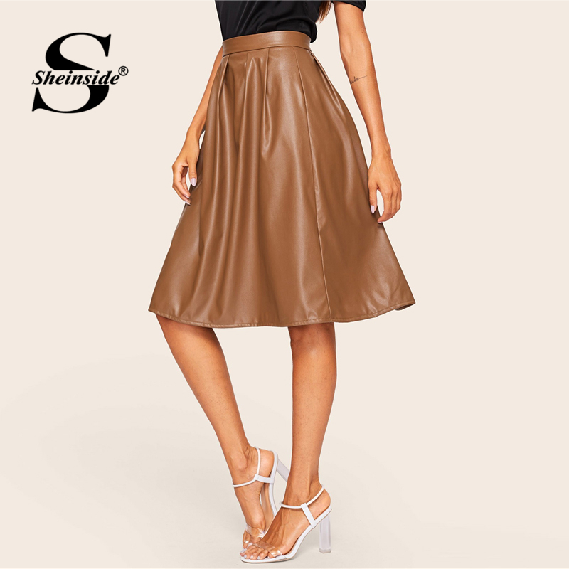 Image 4 - Sheinside Coffee Casual Mid Waist Pleated PU Leather Skirt Women 2019 Spring Solid A Line Skirts Ladies Minimalist Zipper Skirt-in Skirts from Women's Clothing