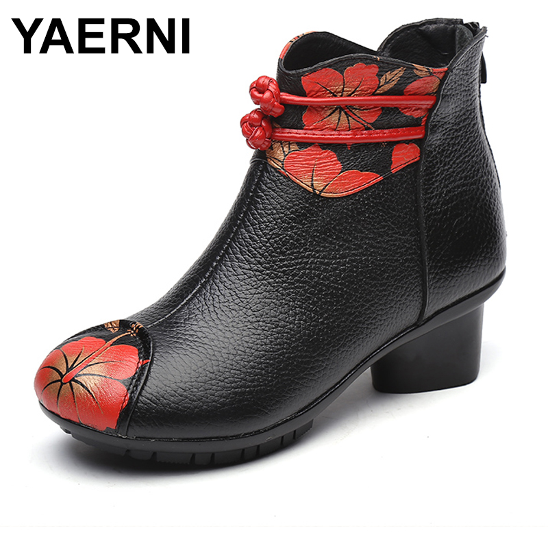 black Plush Talon E338 Fleurs Véritable Yaerni Plush Nouvelles No Med En D'hiver Bottes Chaussures Martin Cuir 2018 Black Impression Femmes Inside gUgPT