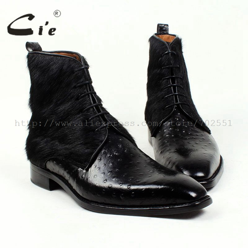 cie Free Shipping Handmade Horse Hair/Empossed Ostrich Calf Leather Outsole Buttom Breathable Color Black Men Leather Boots A86