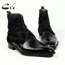 Free shipping bespoke handmade horse hair/fake orstrich by calf skin leather color black mens boots