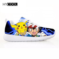 HYCOOL Kids Running Shoes Sneakers Pokemon Outdoor Air Mesh Breathable Light Run Shoes Boys Girls Zapatos De Futbol Sneakers