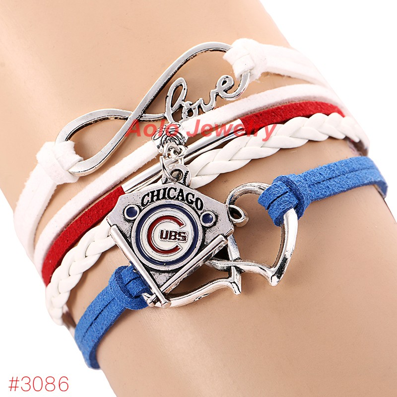 Infinity Love Chicago Cubs Baseball Team Bracelet New Leather Fans Jewelry 6pcs Lot Free Shipping In Charm Bracelets From Accessories