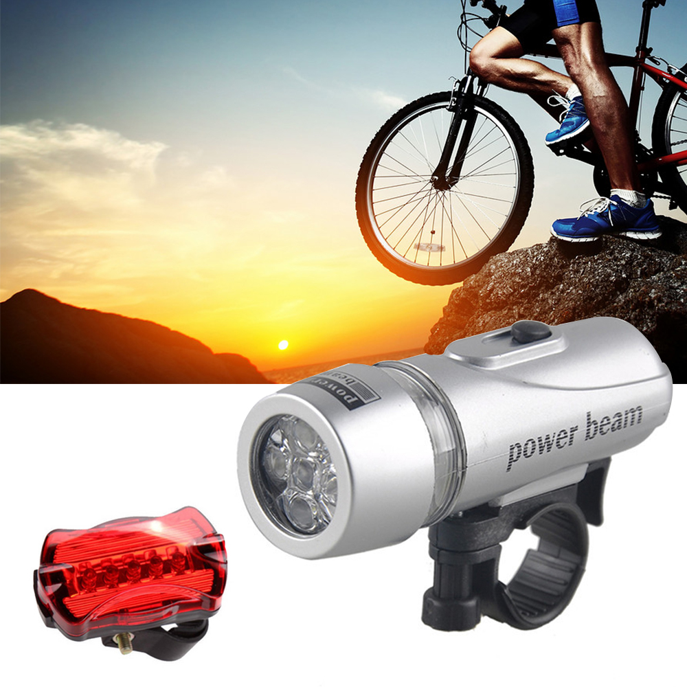 Waterproof 5 LED Lamp Bike Bicycle Front Head Light+Rear Safety Flashlights Set