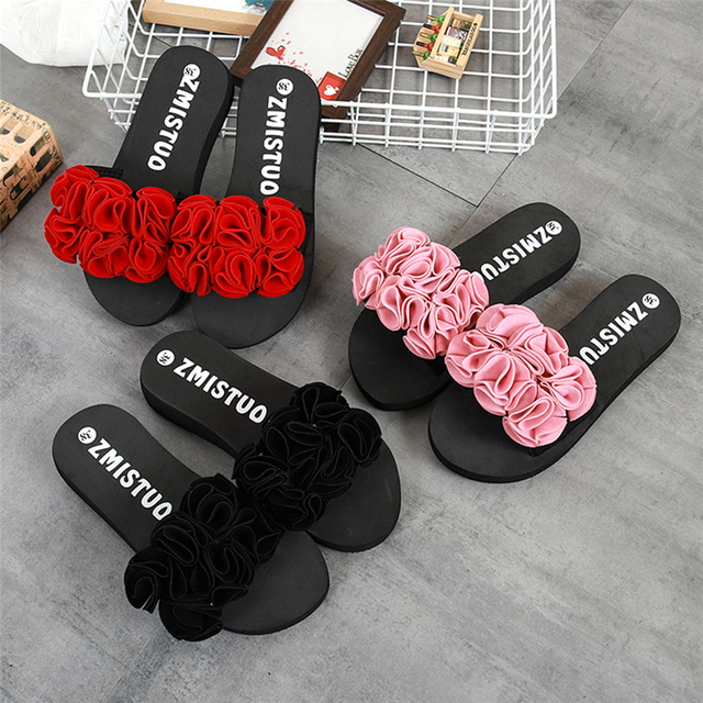 0ac93792652 2019 Latest Women Flower Summer Sandals Slipper Indoor Outdoor Flip-flops  Beach Shoes Fashion Women Shoes 20**