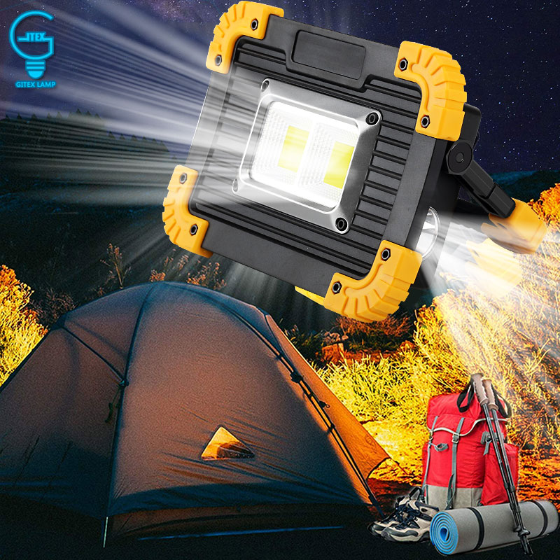 Portable Spotlight USB Rechargeable LED Floodlight 5V LED Work Light Flashlight For Outdoor Hunting Camping Latern