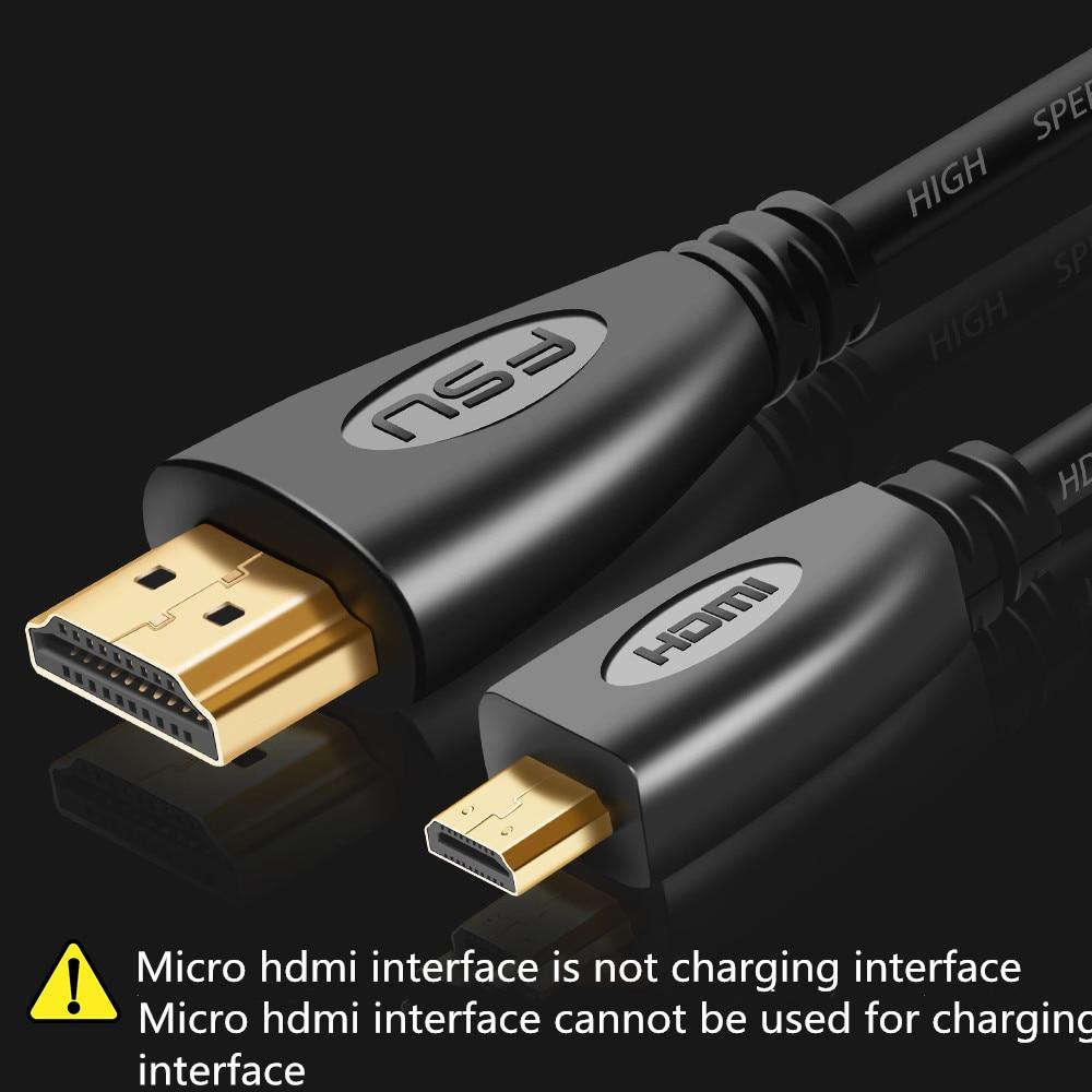 Кабель Micro HDMI-совместимый с HDMI, 1 м, 1,5 м, 3 м, 5 м, 3D, 1080P, 1,4, позолоченный