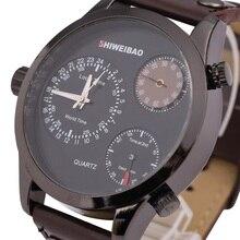 Personalidad caliente ShiWeiBao Hora Mundial PU Banda Reloj de Cuarzo Dial Digital