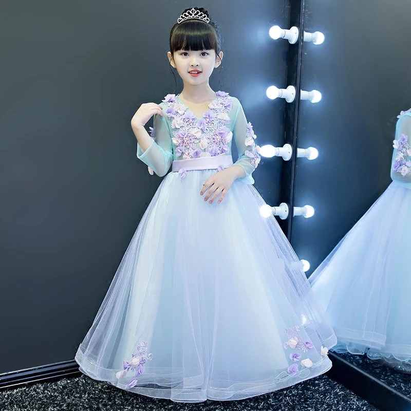 цена на 2017 Children Girls Fashion Sweet Sky-Blue Color 3D Flowers Decoration Long Princess Birthday Party Dress Kids Teenagers Dress