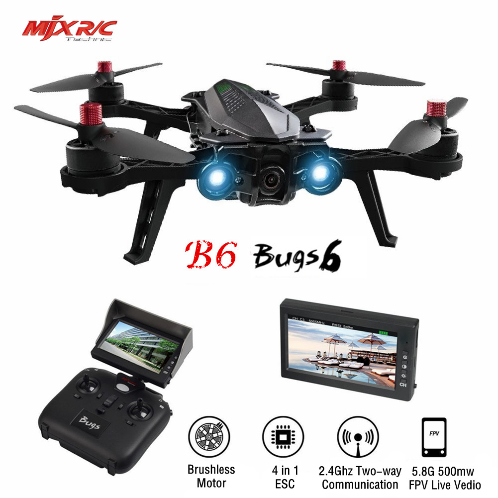 MJX B6 Bugs 6 Brushless Racing Drone 1806 1800KV Motors HD 720P 5.8G FPV and VR Glass Live Video RTF RC Quadcopter Vs Bugs 3 B2W