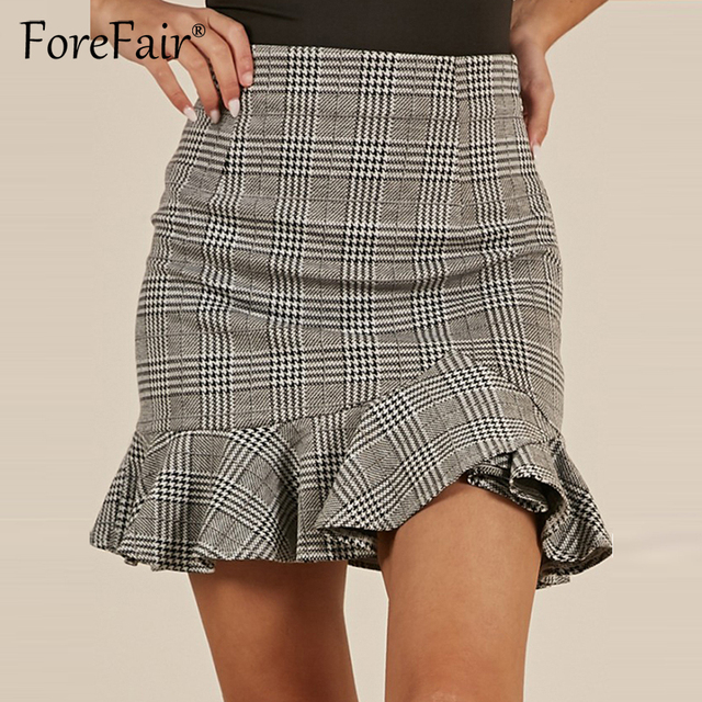 d34d7a1b9 Forefair Women Ruffle Vintage Plaid Skirt Office Ladies Casual Short Skirt  2018 Summer Grey High Waist Bodycon Skirts
