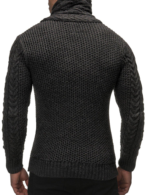 Cardigan Slim Horns Buckle Thick Hedging Turtleneck Men'S Sweater 2