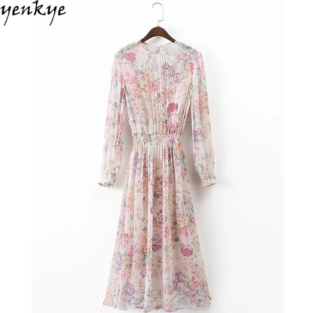 24ae953f06 Sukienka jesienna szyfonu słodkie kobiety O Neck z długim rękawem kwiatowy sukienka  elastyczny pas dorywczo Midi