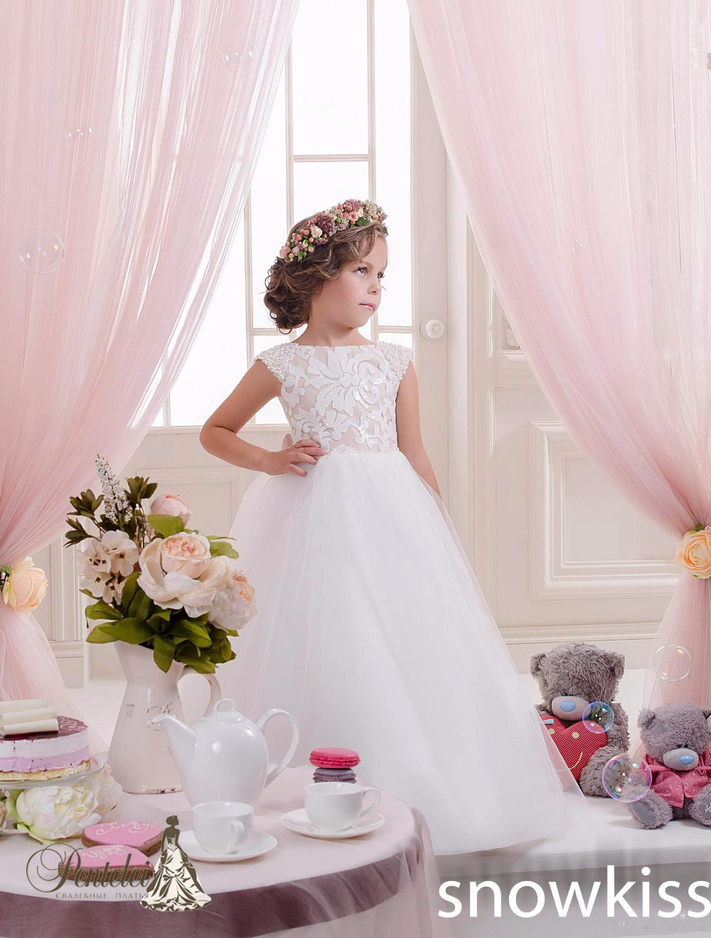White/Ivory Lace Flower Girl Dresses for Birthday wedding party formal occasions first communion Princess Tulle Ball Gowns new white ivory flower girl dresses for wedding 3d flowers puffy tulle with big bow girls first communion gowns
