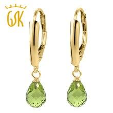 GemStoneKing Sólido 14 K Oro Amarillo Pendientes de Gota (2.70 cttw, 7X5 MM) Genuine Briolette Verde Peridot Pendientes de Las Mujeres