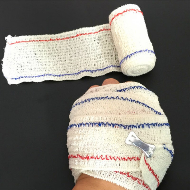 5rolls Elastic Wrinkle Spandex Bandage Medical Cotton Bandage First Aid Kit Accessories Outdoor Survival Tool For Wound Fixation