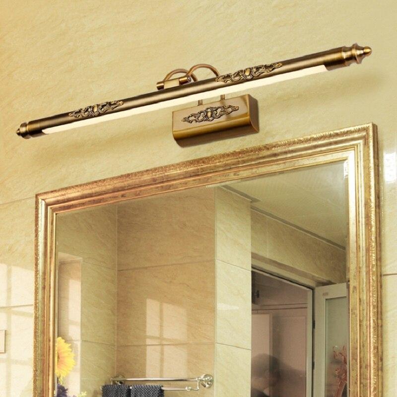 Rétro Led miroir avant lumière 50 CM 8 W lampe cosmétique européenne vanité salle de bain applique murale Bronze acrylique maquillage commode appliques lampes