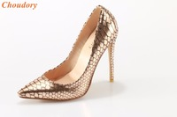 Champagne Gold Serpentine snake print eleather pointed toe high heel woman shoes