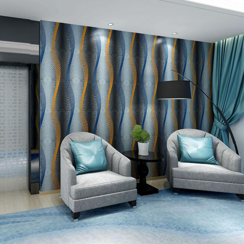 Behang moderne 3D abstrait papier peint rouleau lavable PVC en relief vague bande revêtement mural salon chambre papel de parede