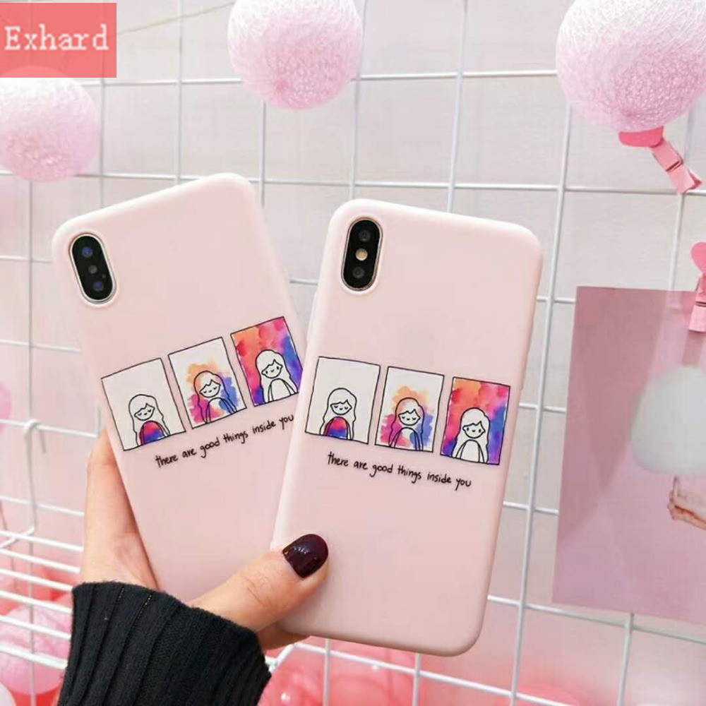 Wallpaper English Letter Cute Girl TPU Case For iPhone 8 8 Plus 7 7 Plus 6 6s 6 Plus Protective